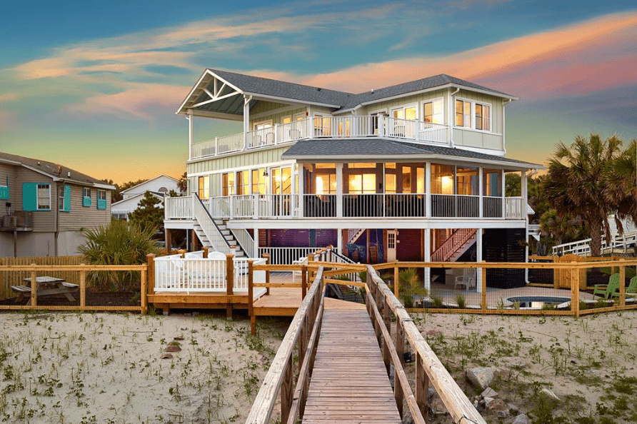 A property at the beach during sunset