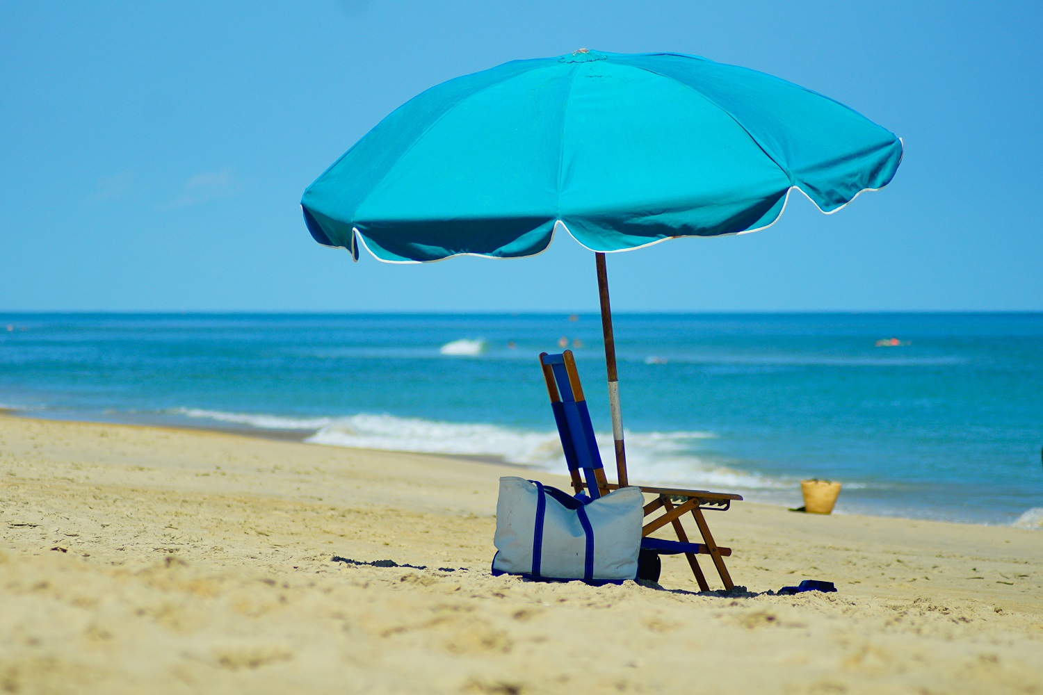 Umbrella at the beach, one of the best ways to stay cool in Lowcountry summer