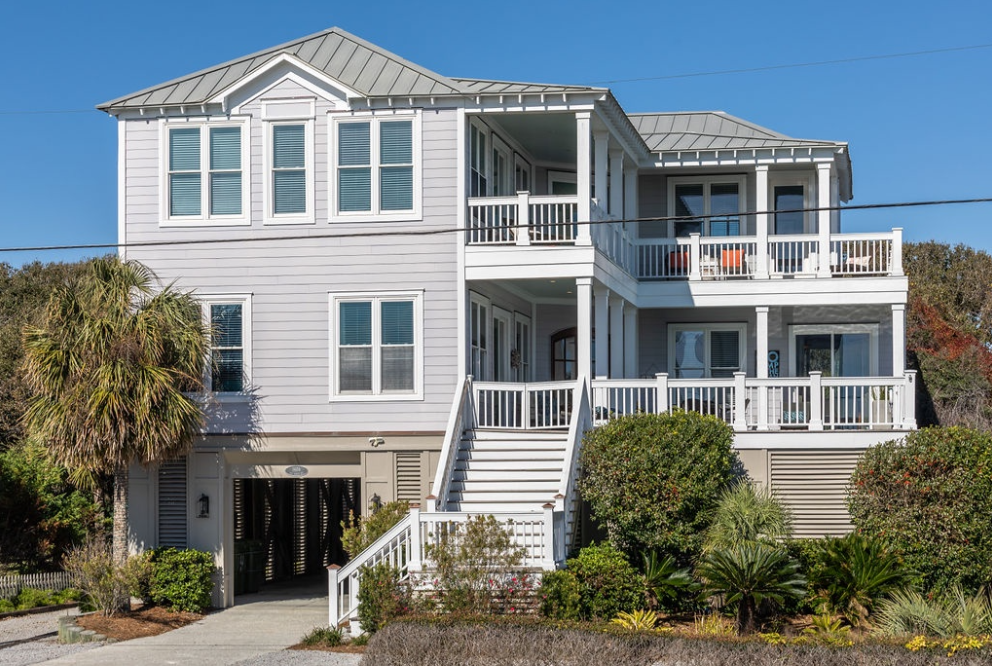 The exterior of a beach house